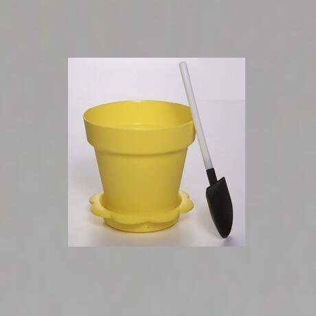 Yellow Color  Flower Pot  Shape DIY Baking Plastic Dessert Jelly Cake Yogurt Mousse Cups with optional Lid and Shovel , Assorted
